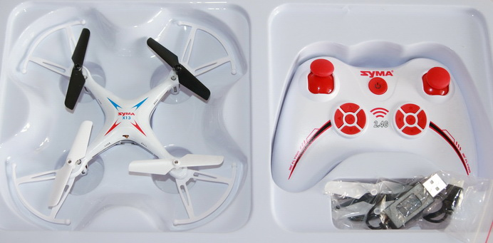 Syma X13 Miracle quadcopter inside the box