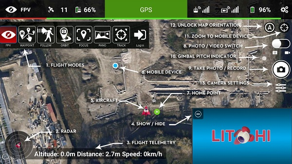 Litch DJI APP - Main screen