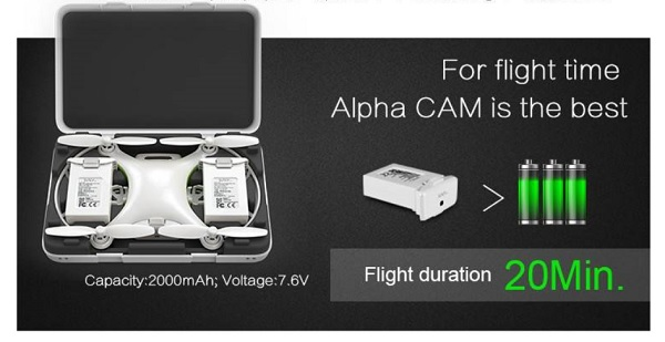 Alpha cam quadcopter flight time