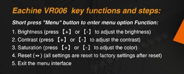 Eachine VR006 menu options