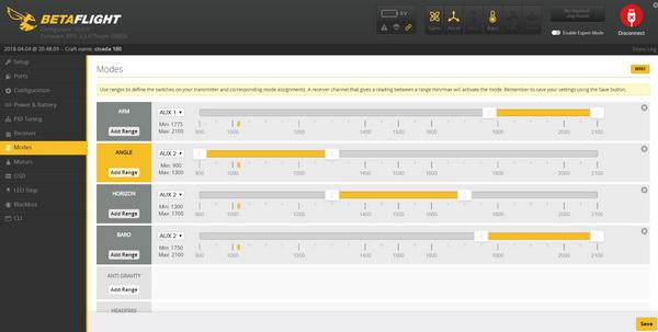LitisRC Cicada 180 review: BetaFlight settings