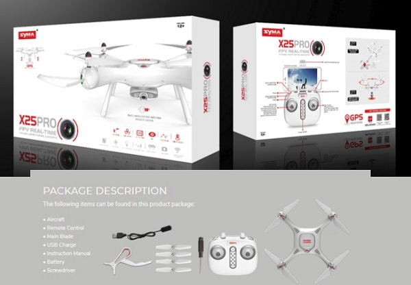 Syma X25Pro package description