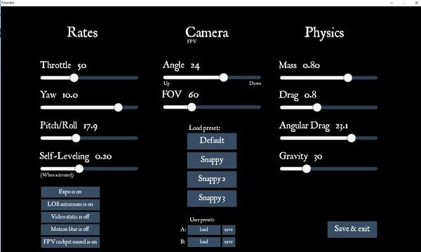 FPV Freerider custom settings menu