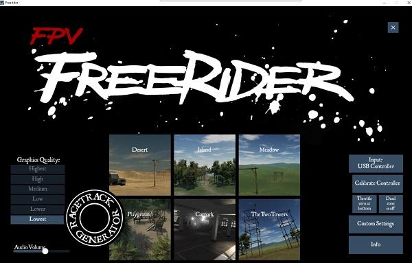 FPV Freerider main screen