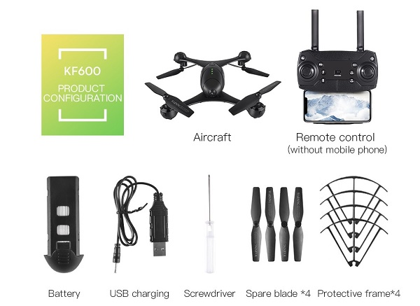 Included accessories with the Kaifeng KF600 drone