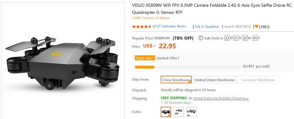 VISUO XS809W drone deal