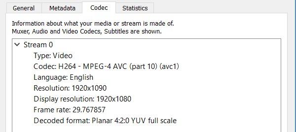 JJRC X7 Smart review: Video codec info
