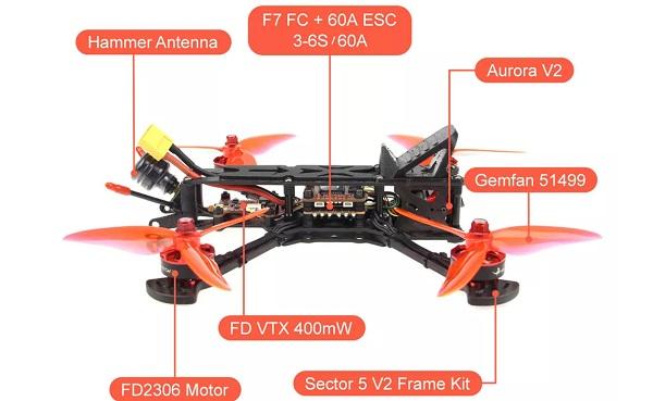 HGLRC Sector5 V2 main parts