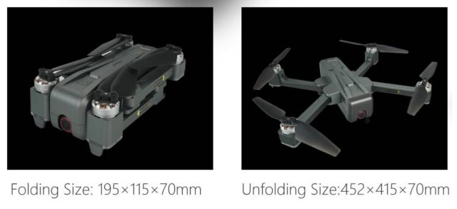 Size of JJRC X11P drone