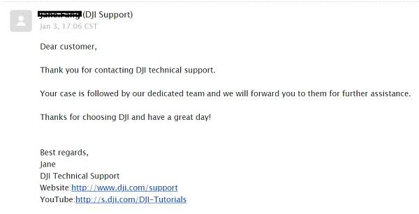 DJI Support response on Mavic Mini crash