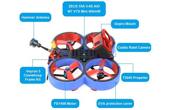 """HGLRC Veyron 3"""" main parts"""