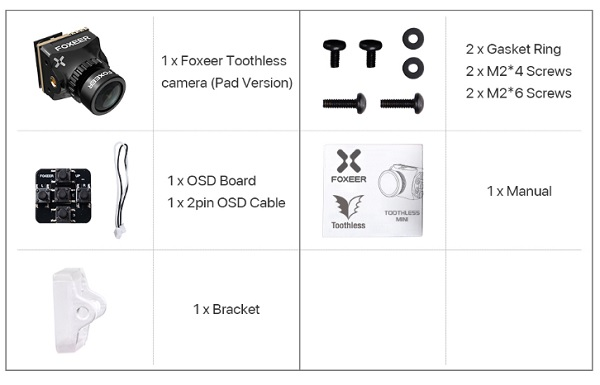 Foxeer Nano Toothless 2 accessories