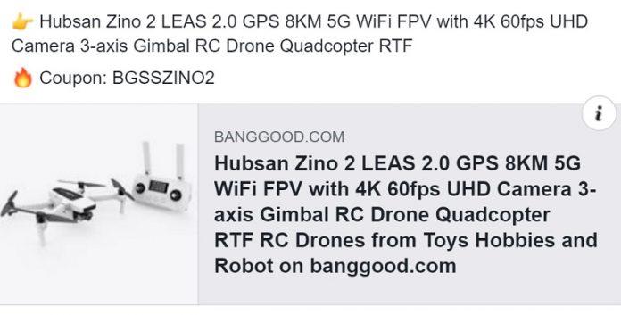 Hubsan Zino 2 discount coupon