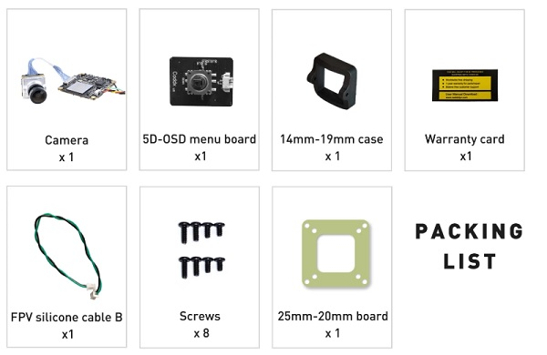 Accessories included with Caddx Loris