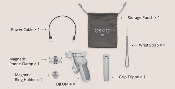 Included accessories with OM4 gimbal