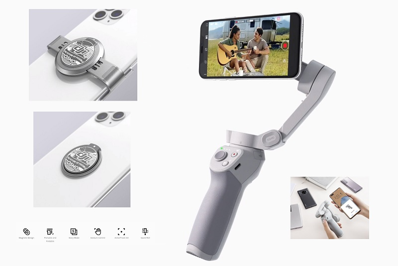 Osmo Mobile 4 gimbal with magnetic mount   First Quadcopter