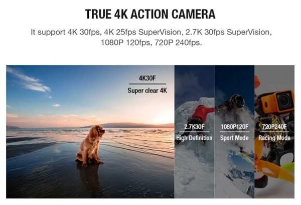 Available resolutions on Foxeer 4K camera