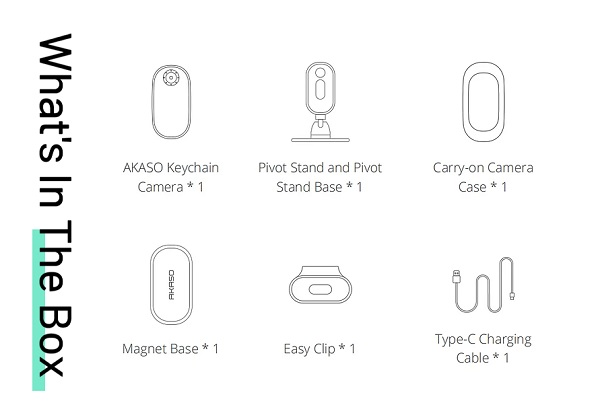 Included accessories with AKASO Keychain camera