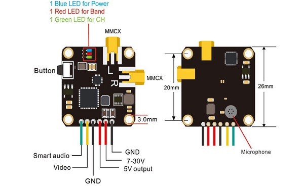 Pinout, Wiring and status LEDS