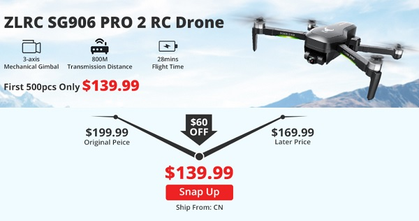 ZLRC SG906 Pro 2 with 60$ off during Halloween 2020 sales