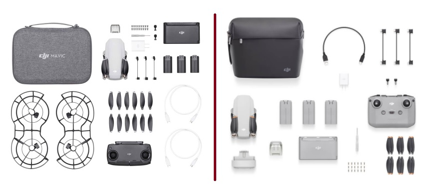 Included accessories with the DJI Mini 2 and Mavic Mini 1