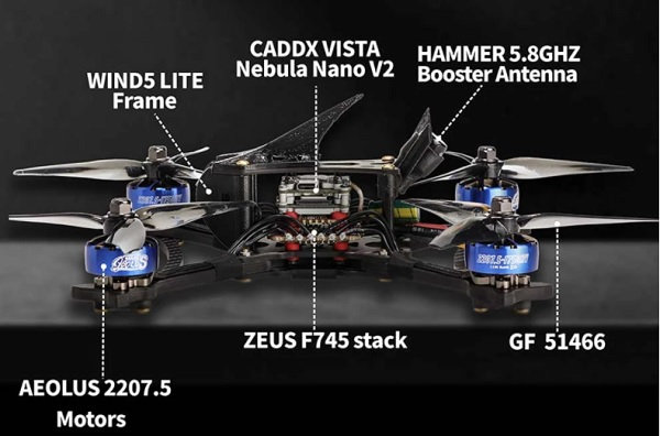 Main parts of HGLRC Wind5 Lite drone