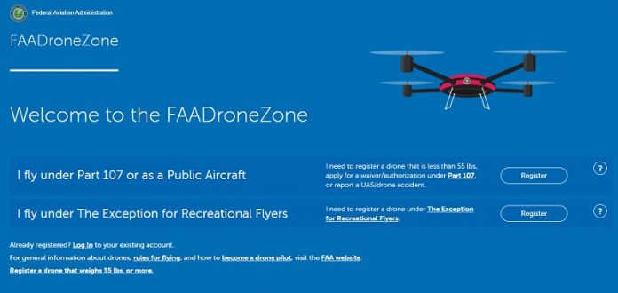 FAA registration DroneZone banner