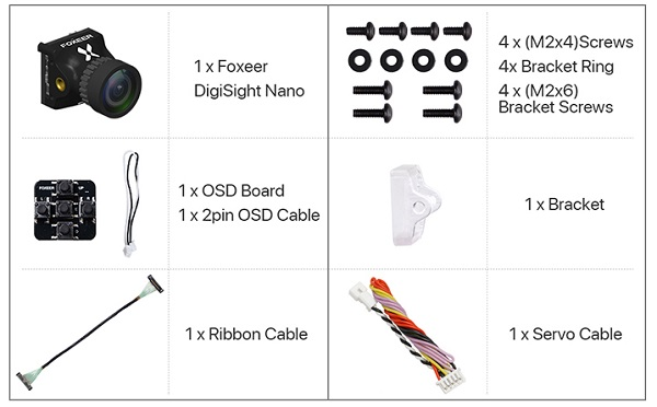 Included accessories with Foxeer DigiSight camera