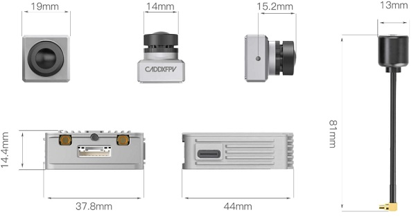 Dimensions of Caddx Air Unit Micro