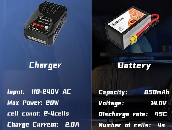 charger and battery specs