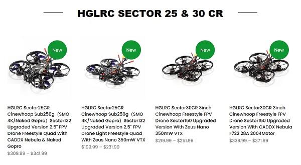 HGLRC SectorCR series comparison