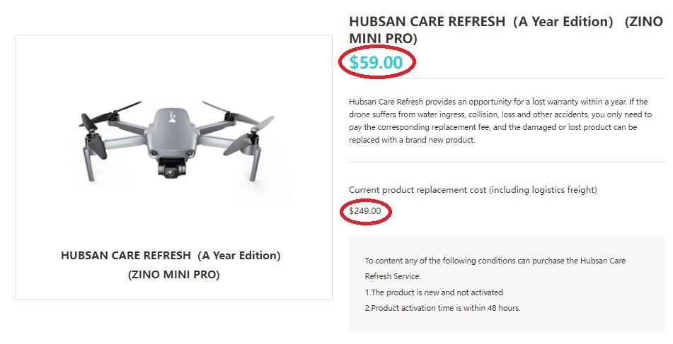 Hubsan Care Refresh for Zino Mini Pro